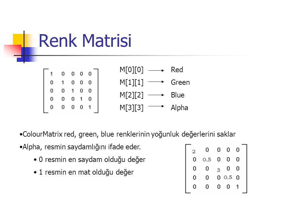 Renk Matrisi M[0][0] M[1][1] M[2][2] M[3][3] Red Green Blue Alpha